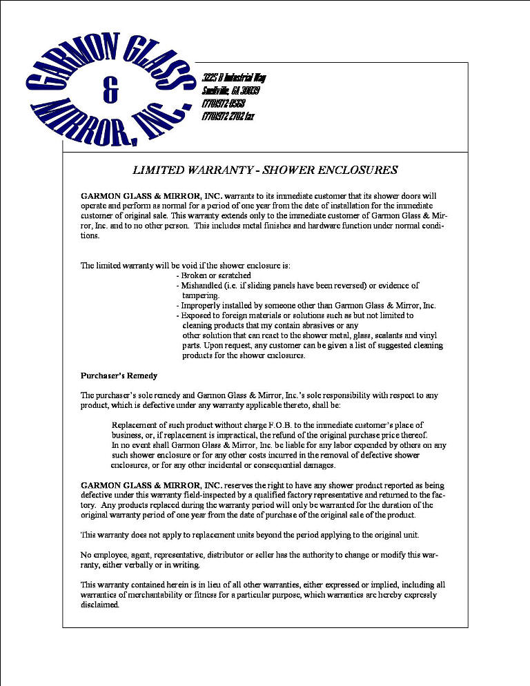 Garmon Shower Door Warranty Statement
